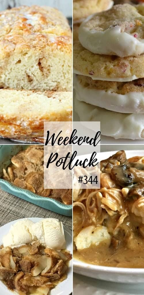 Weekend Potluck featured recipes: Cinnamon Roll Quick Bread, Cranberry Orange Pecan Snickerdoodles, Farmhouse Apple Pie, Crock Pot Smothered Chicken #mealplan #recipes #ideas #dinner #cookies #dessert #slowcooker #crockpot #apples #cookies #bread #quickbread