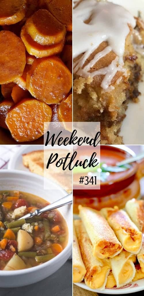 Weekend Potluck featured recipes include: Old-Fashioned Cheesy Cabbage Casserole, Southern Candied Yams, Cinnamon Applesauce Cake, Instant Pot Vegetable Beef Soup and Grilled Cheese Dippers #recipes #mealplan #ideas #dinner #instantpot #yams #lunch #soups #casserole