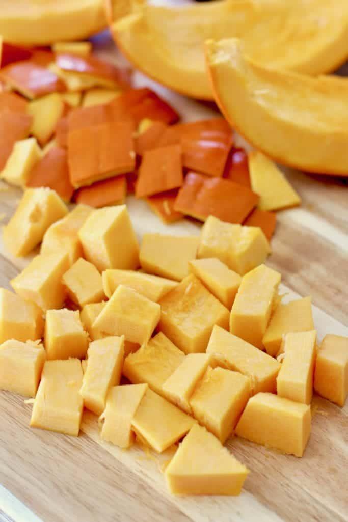 diced baking pumpkin (pie pumpkin, sugar pumpkin)