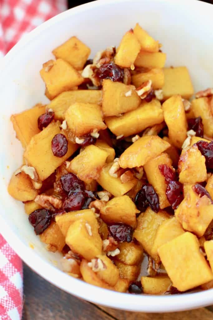 roasted pumpkin, dried cranberries, chopped pecans tossed in a honey orange dressing with cinnamon