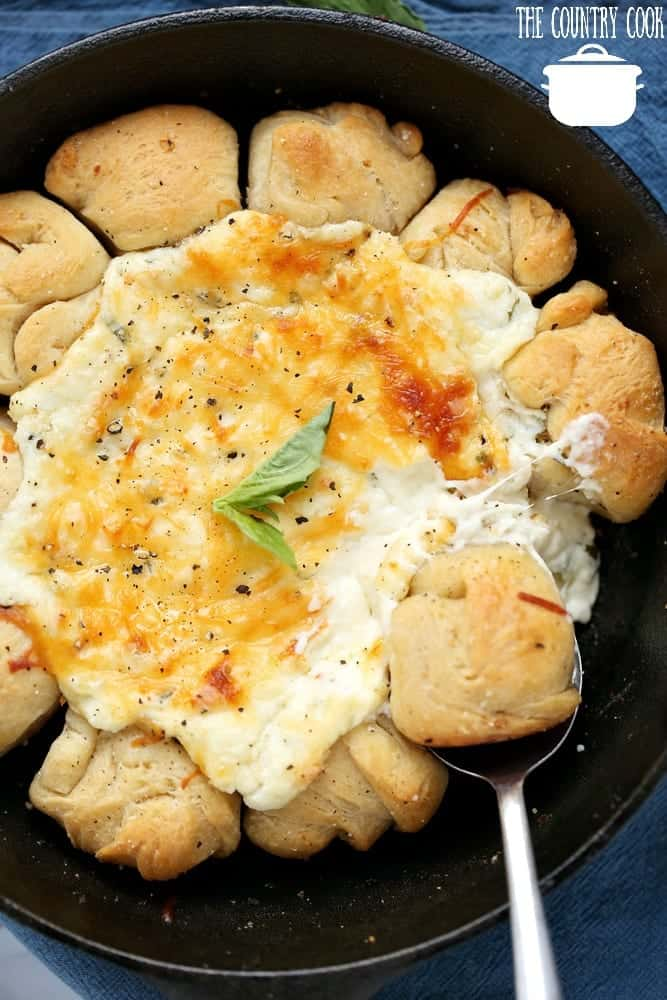 Warm Cheese Pizza Skillet Dip with Pizza Dough Dip Rolls