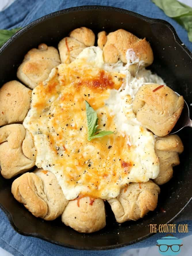 Cheesy Pizza Skillet Dip with fresh basil and pizza dough dipping balls