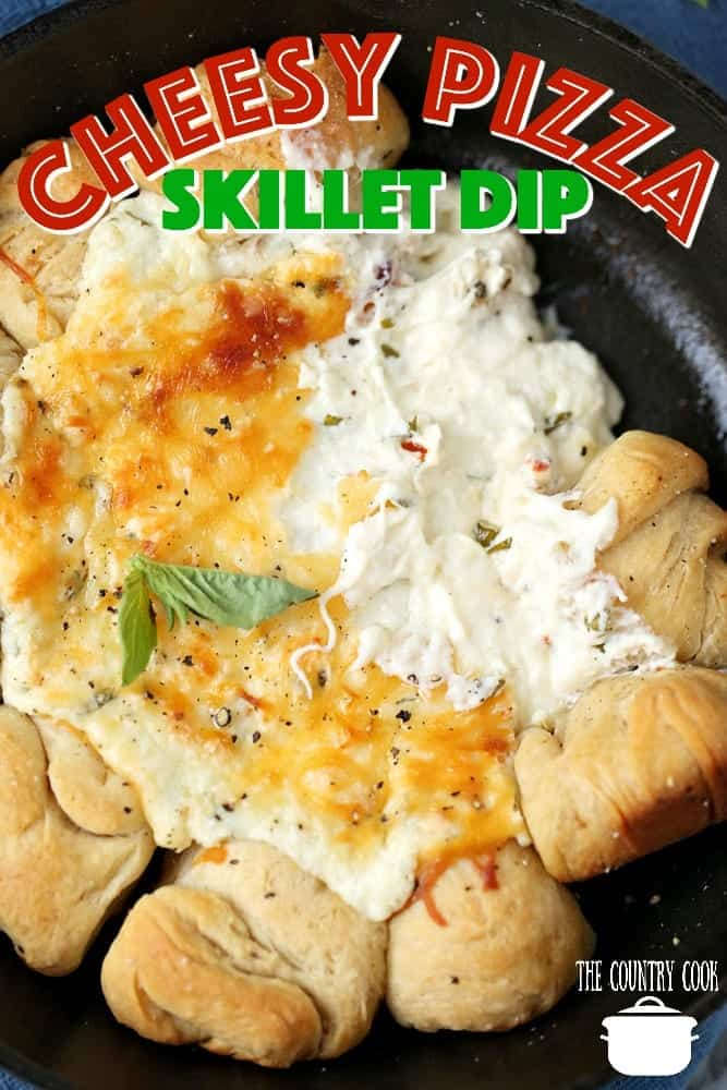 Cheesy Pizza Skillet Dip with Pizza Dough Rolls recipe from The Country Cook