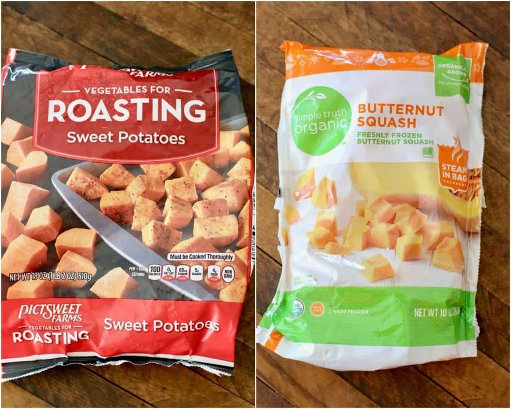 diced frozen sweet potatoes and diced frozen butternut squash