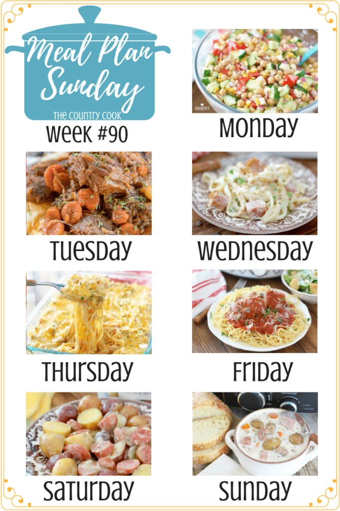 Meal Plan recipes include: Garbanzo Bean Salad with Red Wine Vinaigrette, Slow Cooker Guinness Pot Roast, Ham Fettuccine Bake, Creamy, Cheesy Chicken Spaghetti, Crock Pot Marinara Sauce with Meatballs, Crock Pot Creamy Sausage & Little Potatoes, Slow Cooker Potato Ham Soup including dessert and side dish recipes #recipes #dinner #ideas #kidfriendly #crockpot #slowcooker #chicken #groundbeef #potroast #pasta #familymeals #sausage #soups