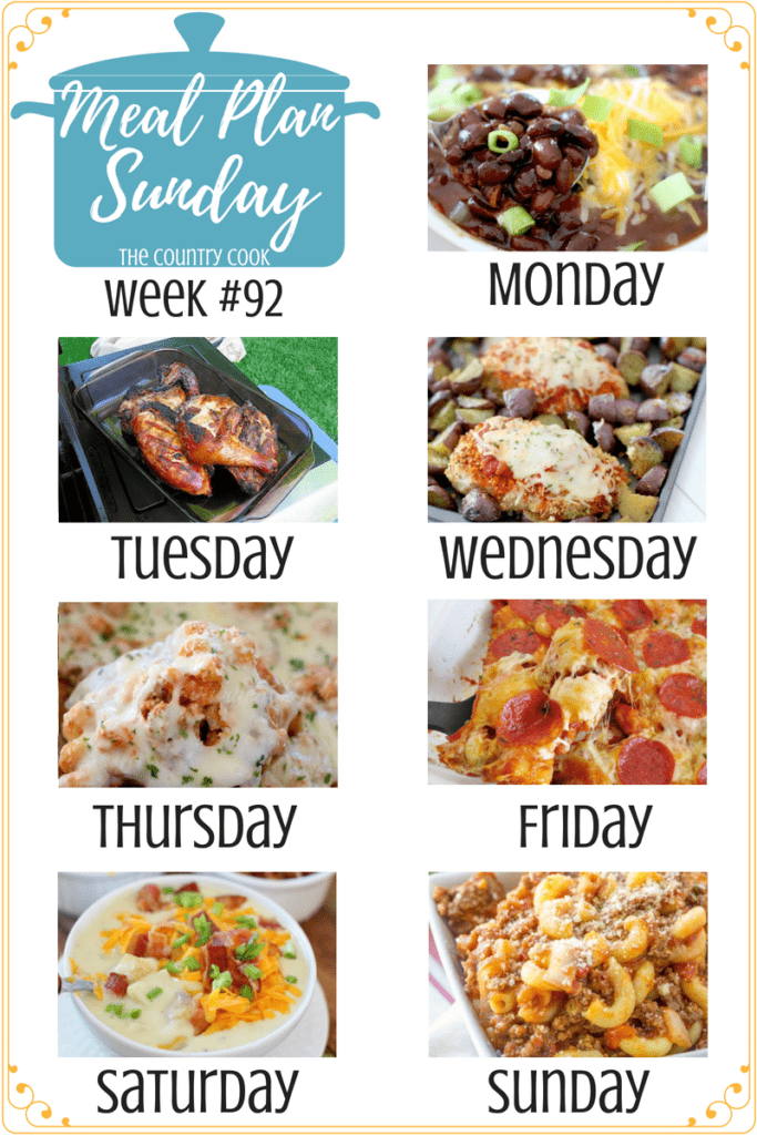 Meal Plan Recipes include: Slow Cooker Black Bean Chili, Huli Huli Chicken, Sheet Pan Chicken with Potatoes, Crockpot Million Dollar Pasta, Bubble Up Pizza, Crockpot Cheddar Bacon Ranch Potato Soup, Grandma's Goulash #mealplan #dinner