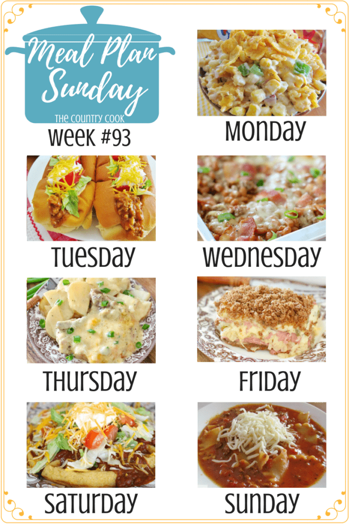 Meal Plan recipes include: Tater Tot Breakfast Casserole, Cheeseburger and Fries Casserole, Easy Skillet Refried Bean Dip, Frito Corn Salad, Crock Pot Taco Joes, Northwords Pie, Smothered Pork Chops and Potatoes, Reuben Casserole, Cornbread Waffles and Chili, Lasagna Soup. #crockpot #mealplanning #easyrecipe #slowcooker #casserole