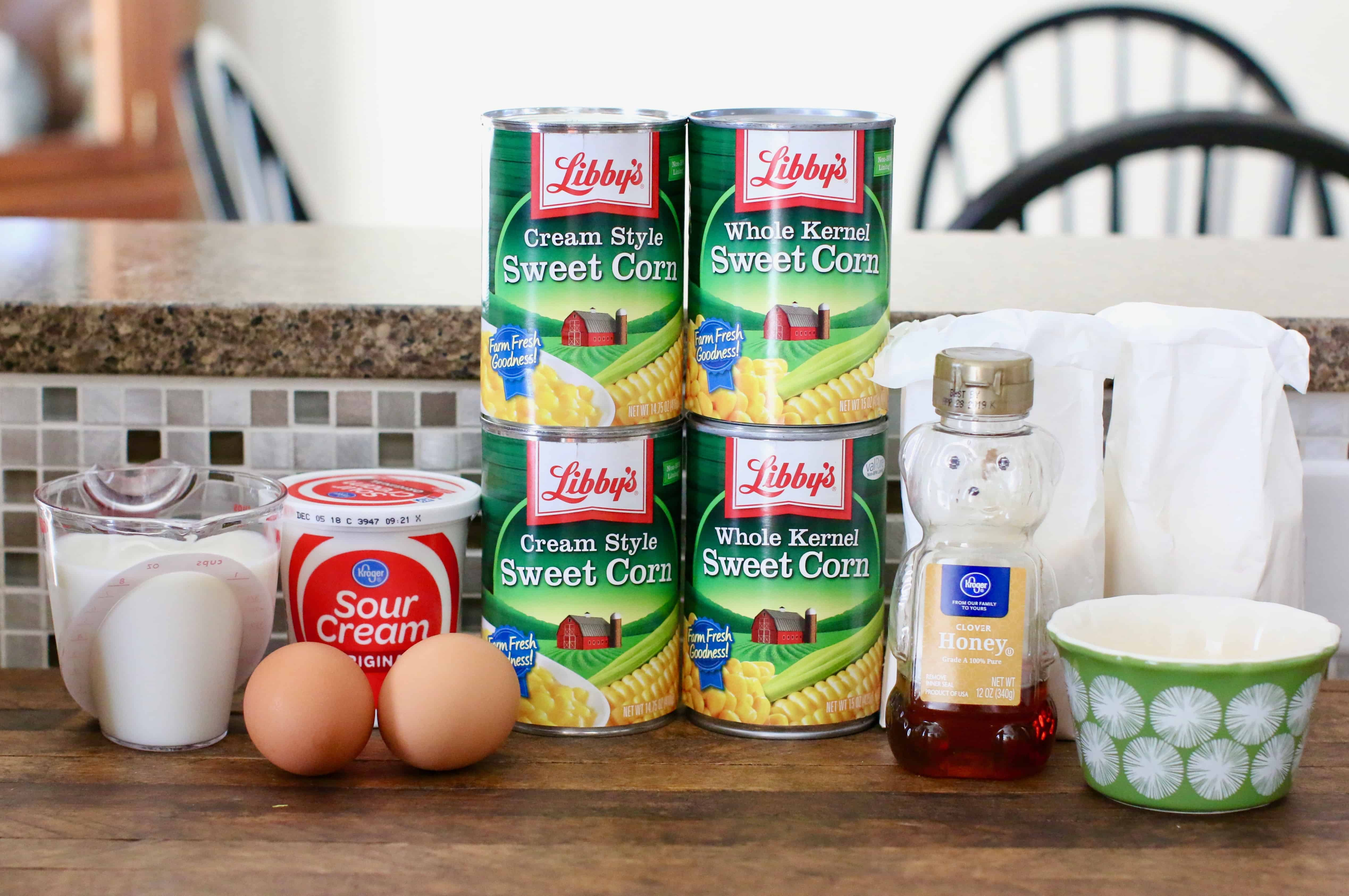 canned corn, canned cream corn, jiffy corn muffin mix, eggs, sour cream, melted butter, milk, honey