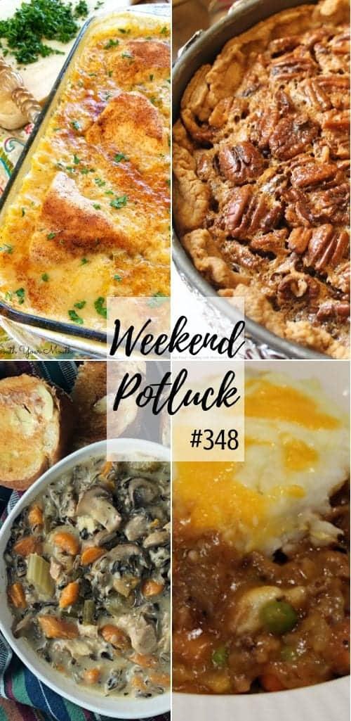 Weekend Potluck featured recipes include: Deep Dish Pecan Pie, Chicken & Rice Casserole, Instant Pot Chicken & Mushroom Wild Rice Soup, Cottage Pie #mealplan #dinner