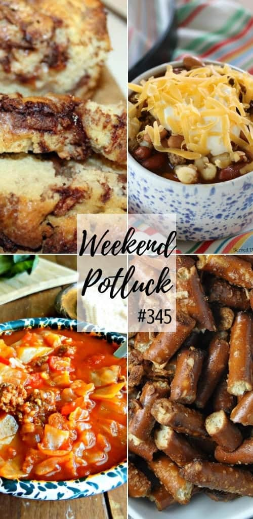 Weekend Potluck featured recipes: Apple Fritter Bread, Stuffed Cabbage Soup, Stuffed Cabbage Soup, Crock Pot Onion Garlic Pretzels and Crock Pot Taco Soup #mealplan #recipes #easy #crockpot #soup #bread #snacks #appetizers #dinner #ideas