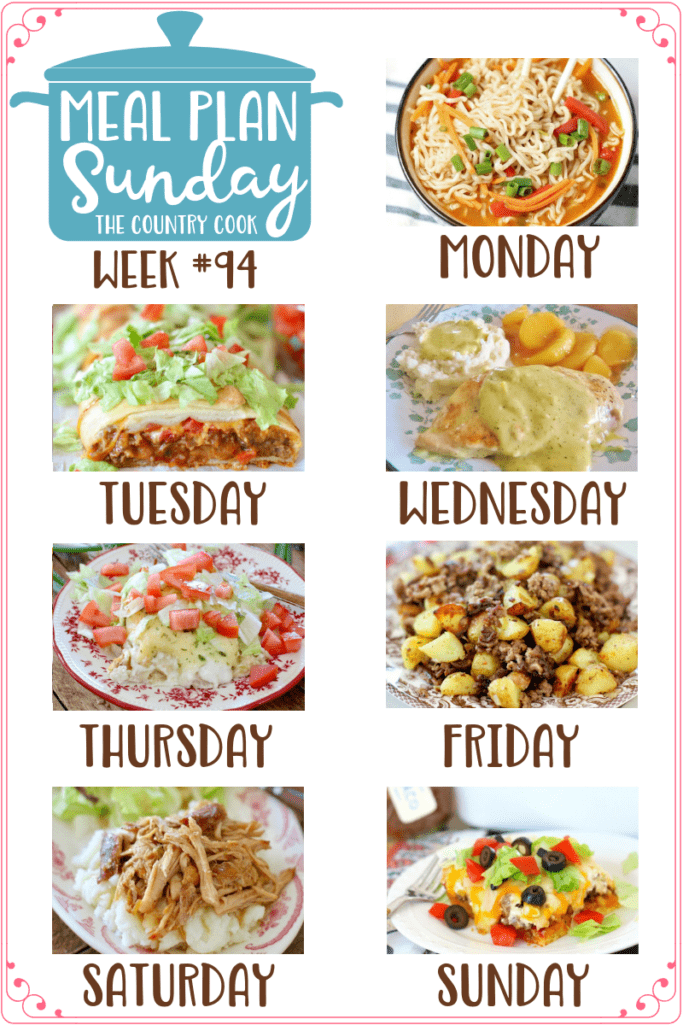 Meal Plan recipes: Ramen Noodle Bowls, Easy Taco Braid, Ranch Chicken, Swiss Enchiladas, Hamburger Hash, Crock Pot Mississippi Pork Roast, Cornbread Taco Bake #mealplan