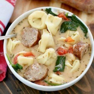 Creamy Tuscan Sausage Tortellini Soup recipe
