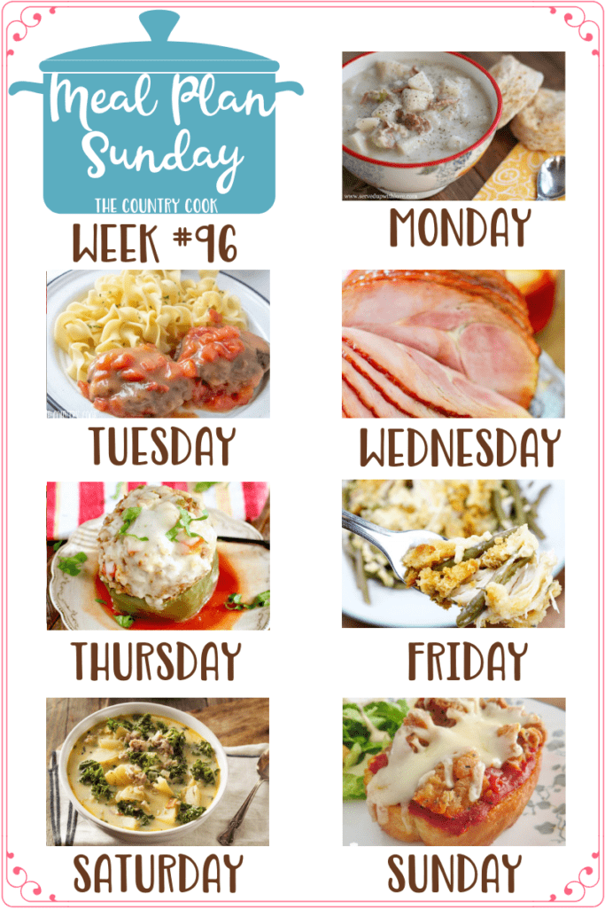 Meal Plan recipes include: Crock Pot Potato Soup, Hamburger Steaks with Tomato Gravy, Crock Pot Sweet Tea Glazed Ham, Instant Pot Stuffed Peppers, Crock Pot Chicken and Stuffing Dinner, Copycat Olive Garden Zuppa Toscana, Garlic Bread Chicken Parmesan Pizzas #mealplan #easy #recipes