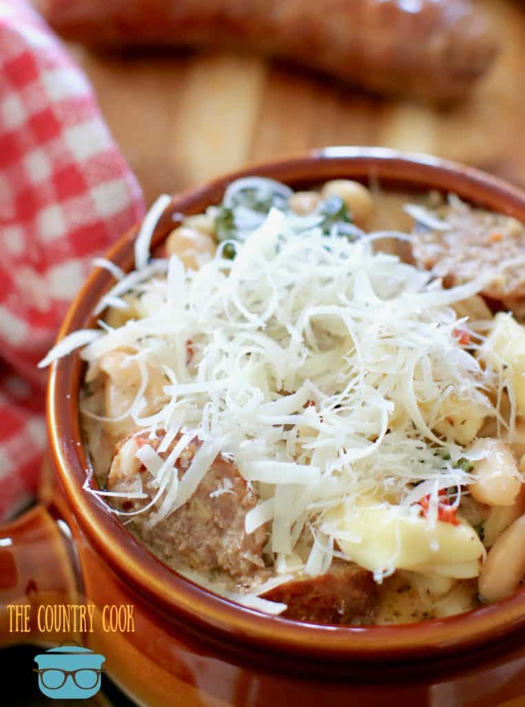 shredded Parmesan cheese on Italian Tuscan Soup