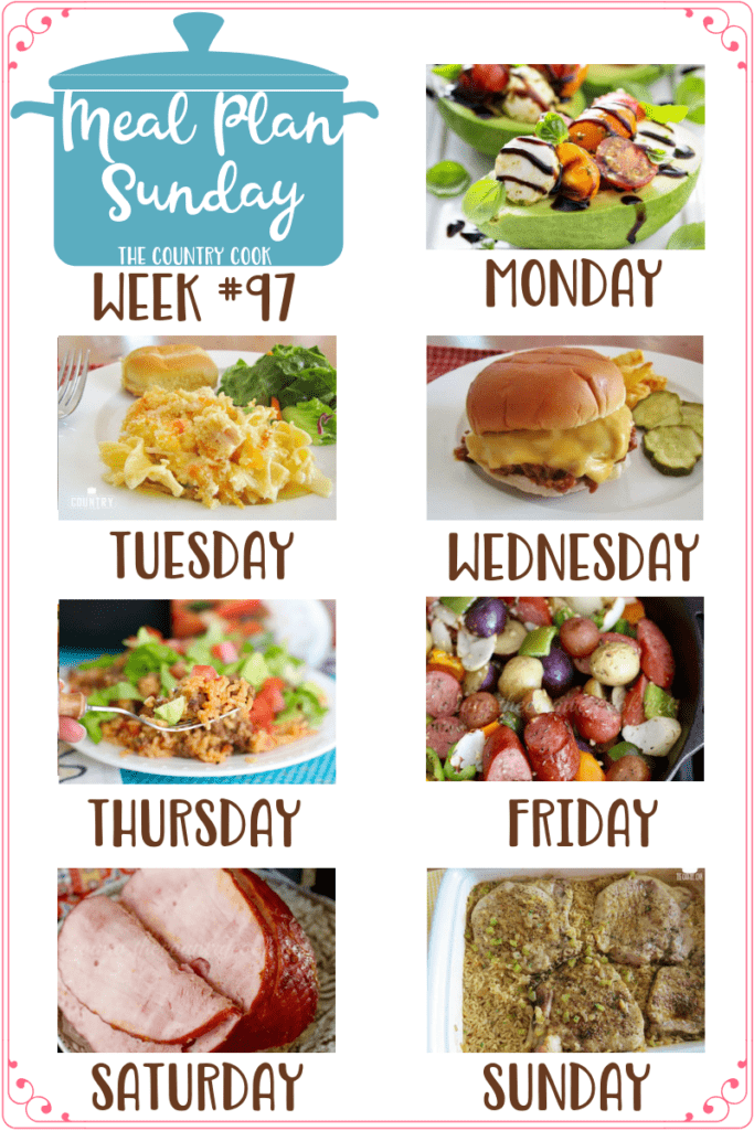 Meal Plan Sunday recipes include: Caprese Stuffed Avocado, Chicken Noodle Casserole, Homemade Sloppy Joes, One-Pan Taco Rice Dinner, One Pan Little Potato Sausage Bake, Crock Pot Holiday Ham, Country Pork Chops and Rice #mealplan #dinner