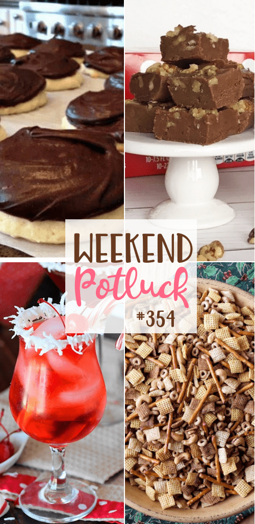 Weekend Potluck featured recipes include: Hamburger Soup, Nuts and Bolts Chex Mix, Santa's Hat Shirley Temple, Cocolate Fudge and Copycat Berger Cookies #potluck #mealplan #recipes #Christmas