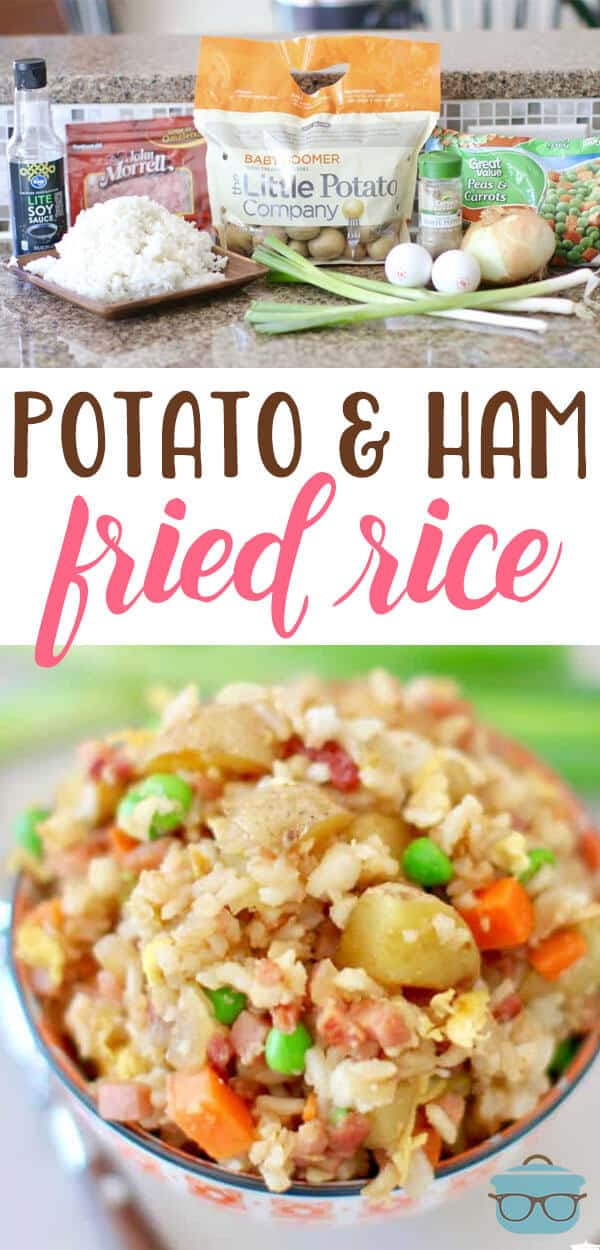 Super easy shortcut recipe for Potato and Ham Fried Rice. Packed full of yummy ham, tender rice, peas, carrots and potatoes. So filling!