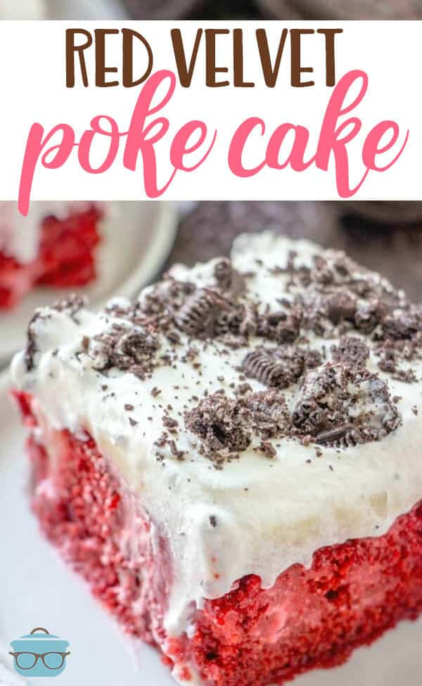 Easy Red Velvet Poke Cake recipe from The Country Cook #cakemix #dessert