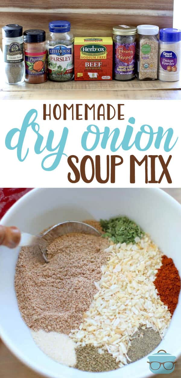 This is a deliciously easy Homemade Dry Onion Soup Mix recipe. Control the sodium, MSG and gluten that goes into your diet with this do-it-yourself recipe!