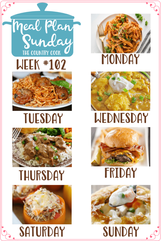 Meal Plan Sunday recipes include: Instant Pot Three Cheese Ziti, Crock Pot Spaghetti & Meatballs, White Chicken Chili with Cornbread Dumplings, Crock Pot Beef Tips and Gravy, Homemade Steakburger, Crock Pot Stuffed Peppers, Chicken Pot Pie #mealplan #dinners