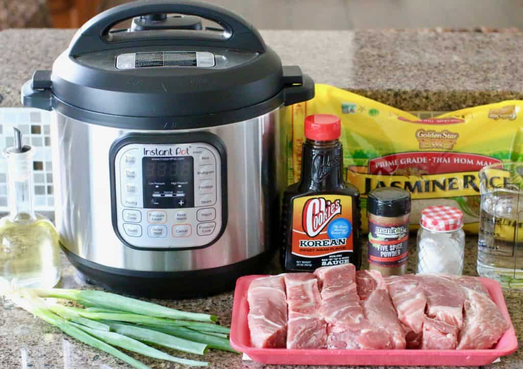 Instant Pot, country style ribs, Korean BBQ sauce, green onion, Chinese five spice, salt, rice, water