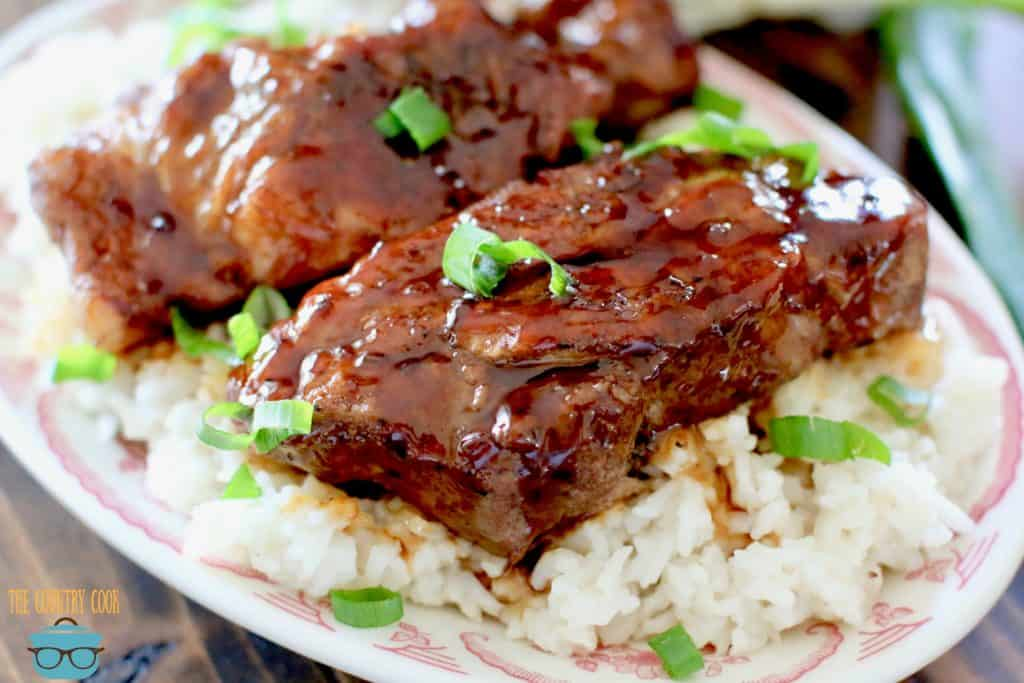 Pressure Cooker Korean BBQ Country Style Ribs with white rice