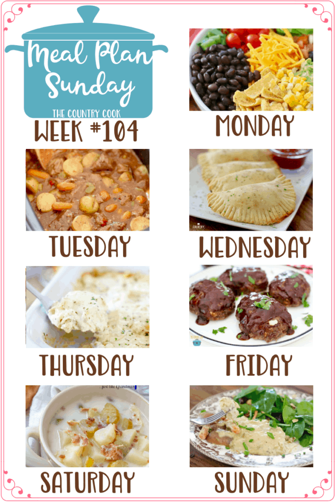 Meal Plan recipes include: Frito Taco Salad, Crock Pot Chunky Beef & Potato Stew, Homemade Pizza Pockets, Crock Pot Chicken Lasagna, Mozzarella Stuffed BBQ Meatloaf, Crock Pot Potato Soup, Crock Pot Creamy Chicken & Little Potatoes #mealplan #crockpot