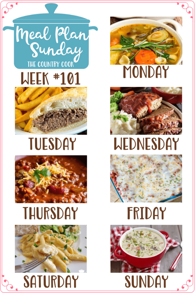 Meal Plan Sundays include: Copycat Olive Garden Minestrone, Crock Pot Beef Dips, Momma's Best Meatloaf, Crock Pot Chili & Sweet Cornbread, Easy Baked Spaghetti (Spasagna), Crock Pot Buffalo Chicken Pasta , Cheeseburger Soup #mealplan #dinner