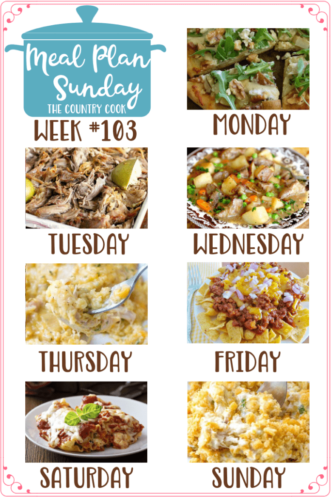 Meal Plan recipes: Crock Pot Pork Carnitas, Best Beef Stew, Crock Pot Cheesy Chicken and Rice, Frito Chili Pie, Crock Pot Lasagna and Ritz Chicken Casserole