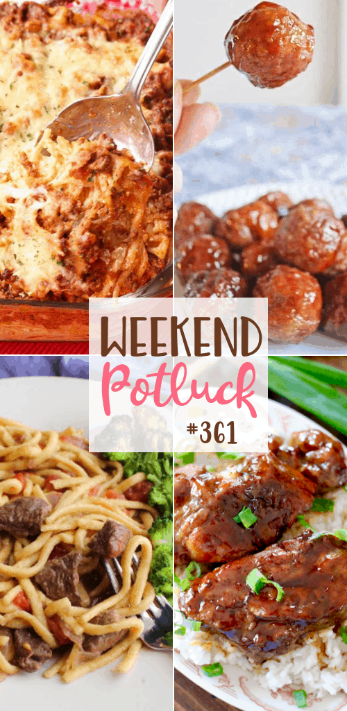 Weekend Potluck featured recipes include: Instant Pot Korean BBQ Country Style Ribs, Seafood Pasta Salad, Cavanaugh's Noodles, 4-Ingredient Crock Pot Meatballs, Out of this World Baked Spaghetti #mealplan #crockpot