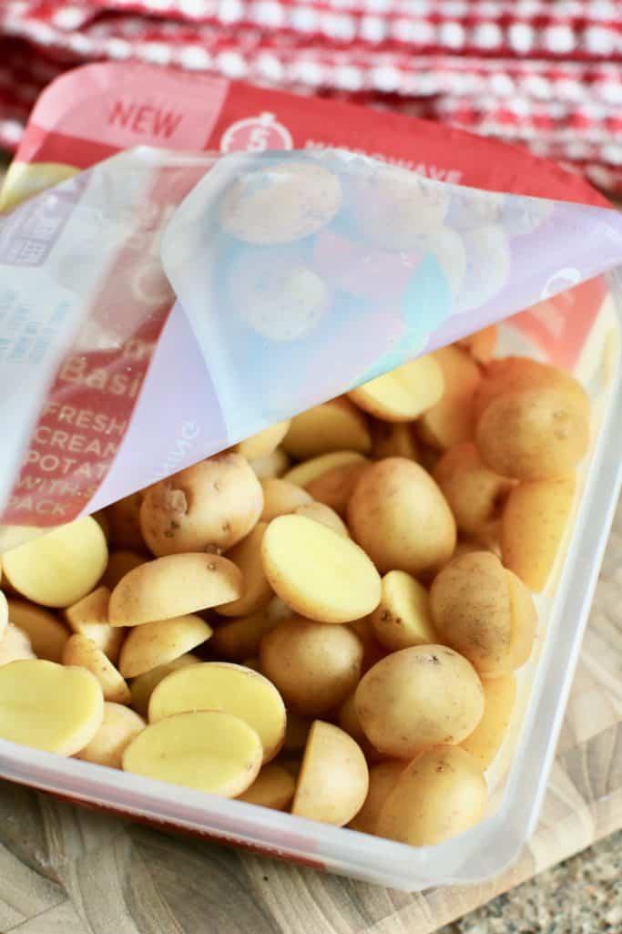 sliced potatoes in microwaveable packaging