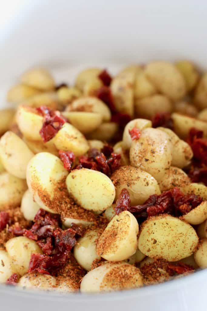 sprinkle packet of Tomato Basil seasoning on potatoes and gnocchi