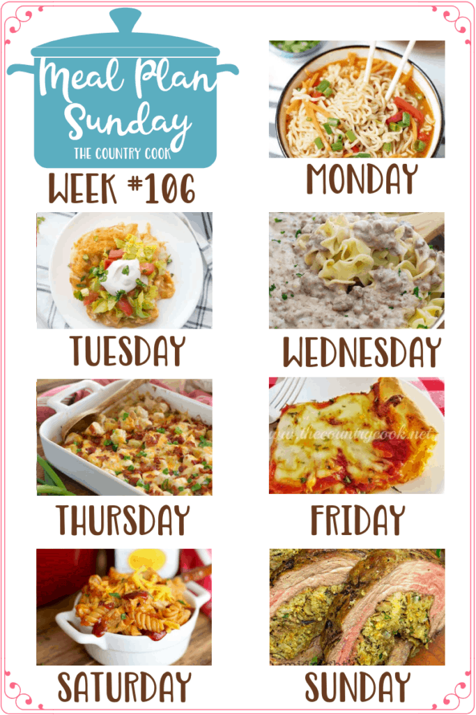 Meal Plan Sunday recipes: Easy Ramen Noodle Bowls, Bisquick Chicken Enchilada Bake, Homemade Beef Stroganoff, Loaded Potato & Ranch Chicken Casserole, Mamma Mia Easy Deep Dish Pizza, One Pot BBQ Chicken Pasta, Stuffed Flank Steak #mealplan #dinnerideas
