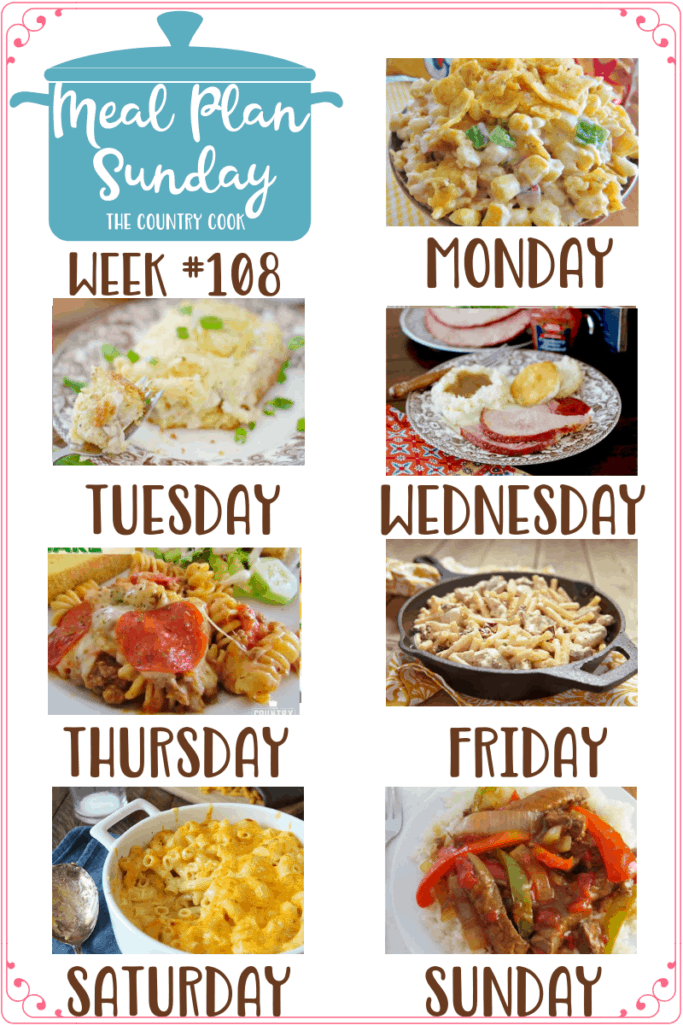 Meal Plan Sunday recipes include: Frito Corn Salad, Cornbread Chicken Casserole, Crock Pot Ham, Pizza Pasta Bake, Creamy Italian Chicken & Pasta (slow cooker), Classic Baked Macaroni Cheese, Crock Pot Pepper Steak #mealplan #dinner