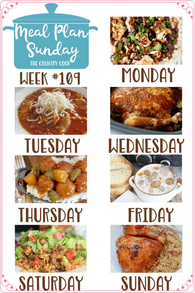 Meal Plan recipes: Kung Pao Cauliflower, Lasagna Soup, Crock Pot Whole BBQ Chicken, Crock Pot Sweet & Sour Meatballs, Creamy Ham Potato Soup, One-Pan Taco Rice Dinner and Baked Apricot Chicken #mealplan #dinner