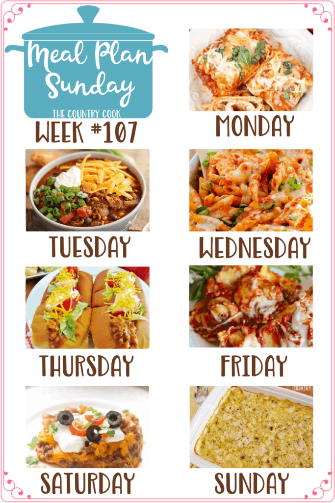 Meal Plan recipes: Easy Lasagna Rolls, Chicken Parmesan Casserole, Taco Sloppy Joes, Crock Pot Ravioli, Burrito Bake and Chicken and Dumplings Casserole #mealplan #dinner