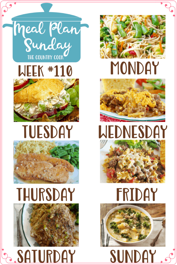 Meal Plan recipes include: No-Fuss Stir Fry, Chicken Salad Croissants, Crock Pot Sloppy Joe Casserole, Crock Pot Lemon Garlic Chicken, Easy Skillet Lasagna, One Dish Pork Chops and Rice, Copycat Olive Garden Zuppa Toscana #mealplan #dinner