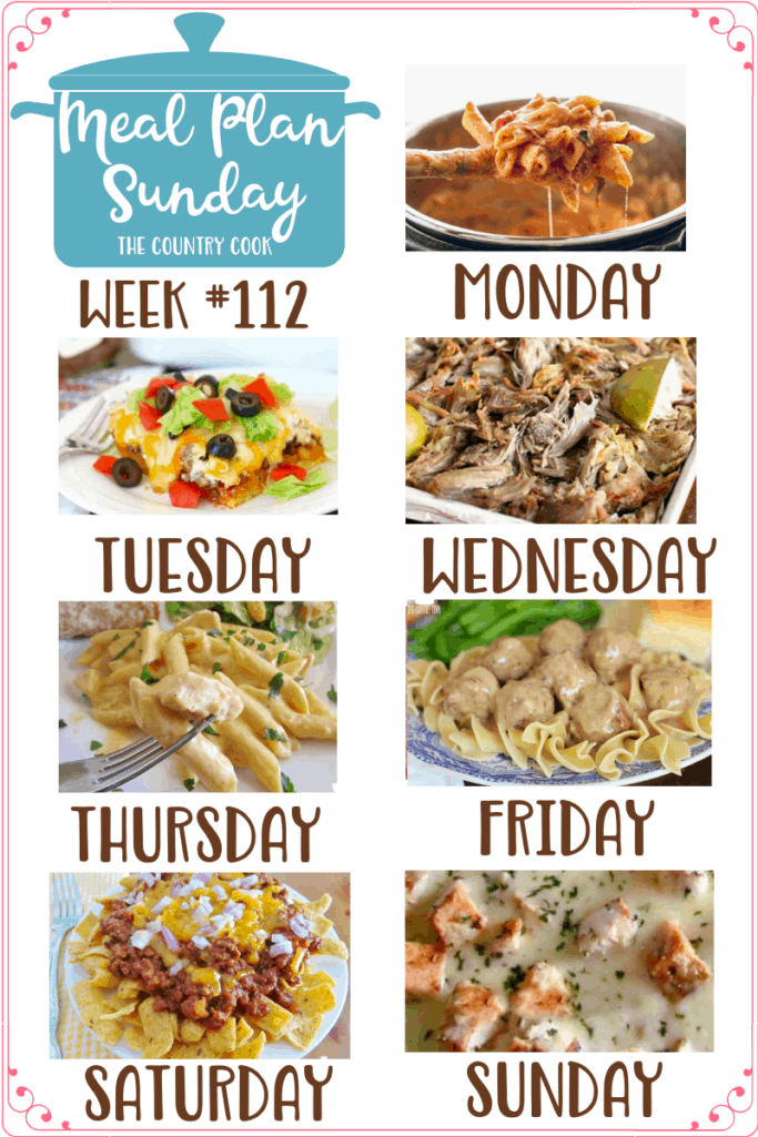 Meal Plan Sunday recipes include: Instant Pot Three Cheese Ziti, Cornbread Taco Bake, Crock Pot Pork Carnitas, Crock Pot Buffalo Chicken Pasta, Swedish Meatballs and Gravy (Slow Cooker), Frito Chili Pie, Grilled Chicken Alfredo Pizza #mealplan #dinnerideas