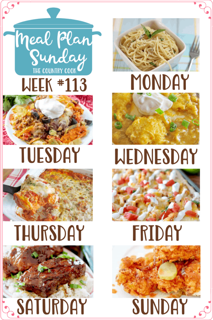 Meal Plan recipes include: Lemon Spaghetti, Taco Casserole, White Chicken Chili with Cornbread Dumplings, Biscuit Lasagna (Bubble Up Lasagna), Chicken Taco Pizza with Secret Sauce, Instant Pot Country-Style Ribs, Nashville Hot Chicken #mealplan #dinner