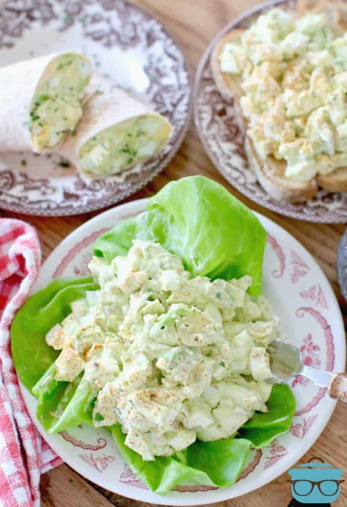 Ranch Avocado Egg Salad serving suggestions (wrap, lettuce, toast, sandwich)