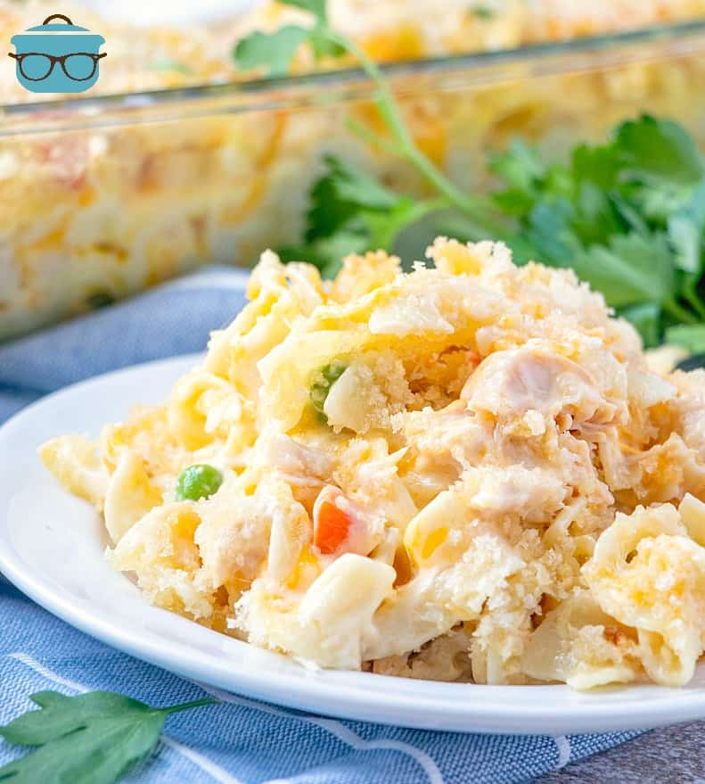 Easy Chicken Noodle Casserole served on a white plate with parsley.