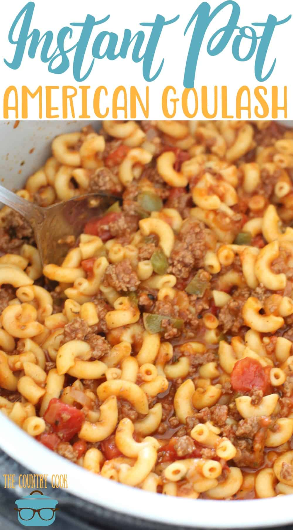 This Easy Instant Pot Goulash is a one pot meal. Ground beef, spaghetti sauce, diced tomatoes, onion, garlic and macaroni noodles. All topped with cheese! #instantpot #groundbeef