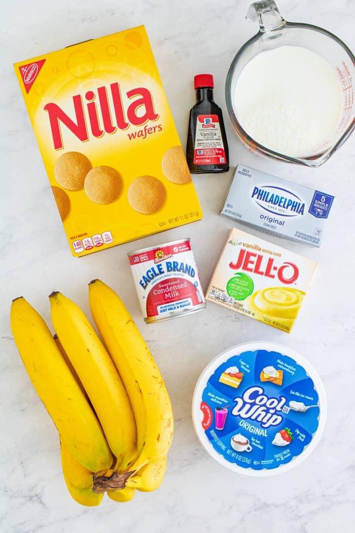 Banana Pudding ingredients: cream cheese, sweetened condensed, milk, instant vanilla pudding, milk, vanilla extract, Cool Whip, Nilla wafers, ripe bananas.