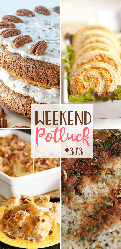 Weekend Potluck Featured recipes include: No-Peek Chicken, Carrot Cake, Buffalo Chicken Puff Pastry Pinwheels, Hummingbird Bread Pudding #mealplan #potluck