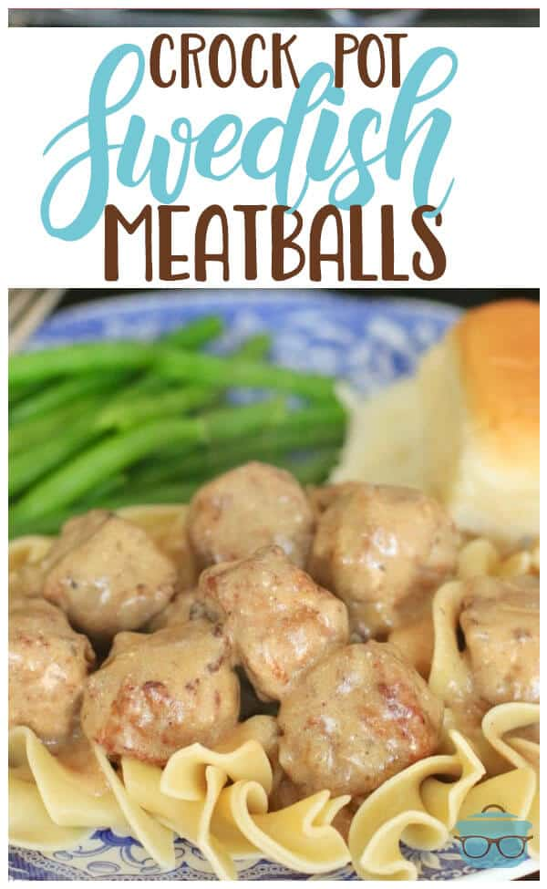 Crock Pot Swedish Meatballs is an easy recipe made with frozen meatballs, sour cream, steak sauce, cream of mushroom and seasonings. Better than Ikea! #swedishmeatballs #slowcooker