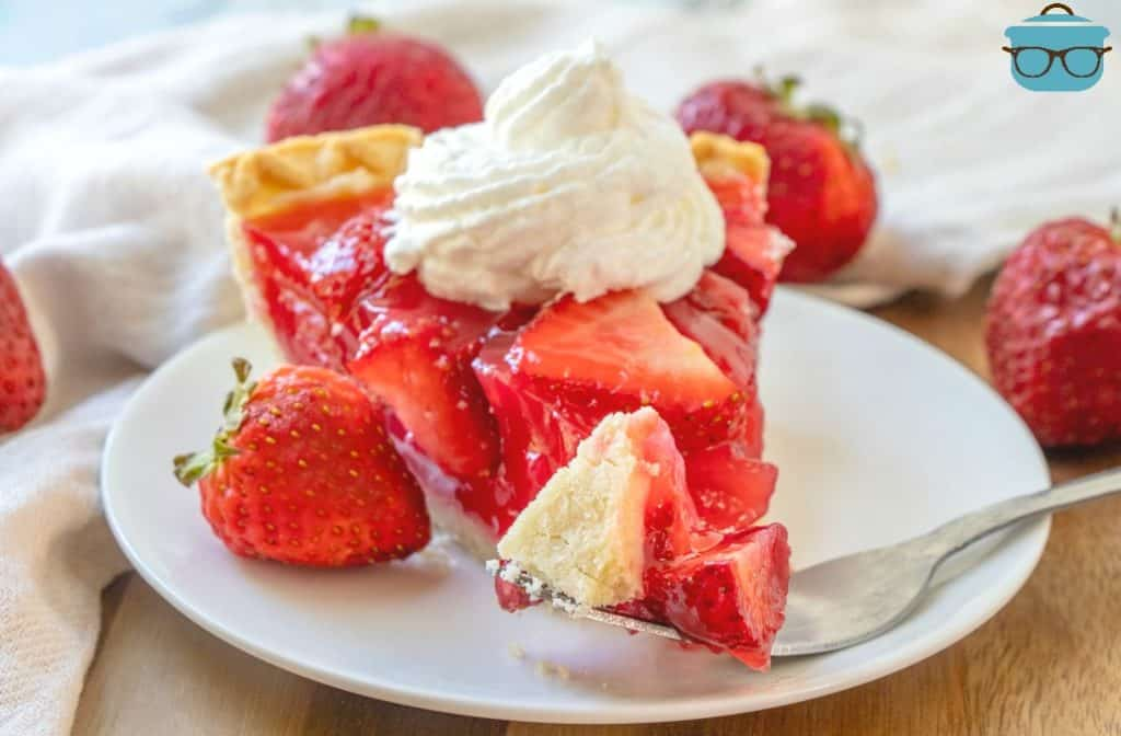 forkful, Shoney's Strawberry Jell-O Pie with fresh strawberries and a dollop of whipped cream