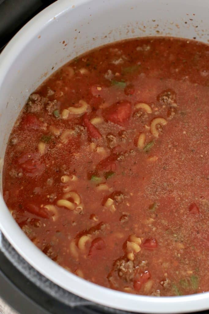 all Instant Pot Goulash ingredients in an 8-quart electric pressure cooker