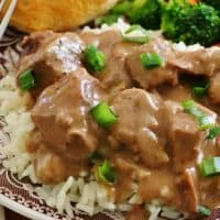 Slow Cooker Beef Tips and Gravy recipe from The Country Cook