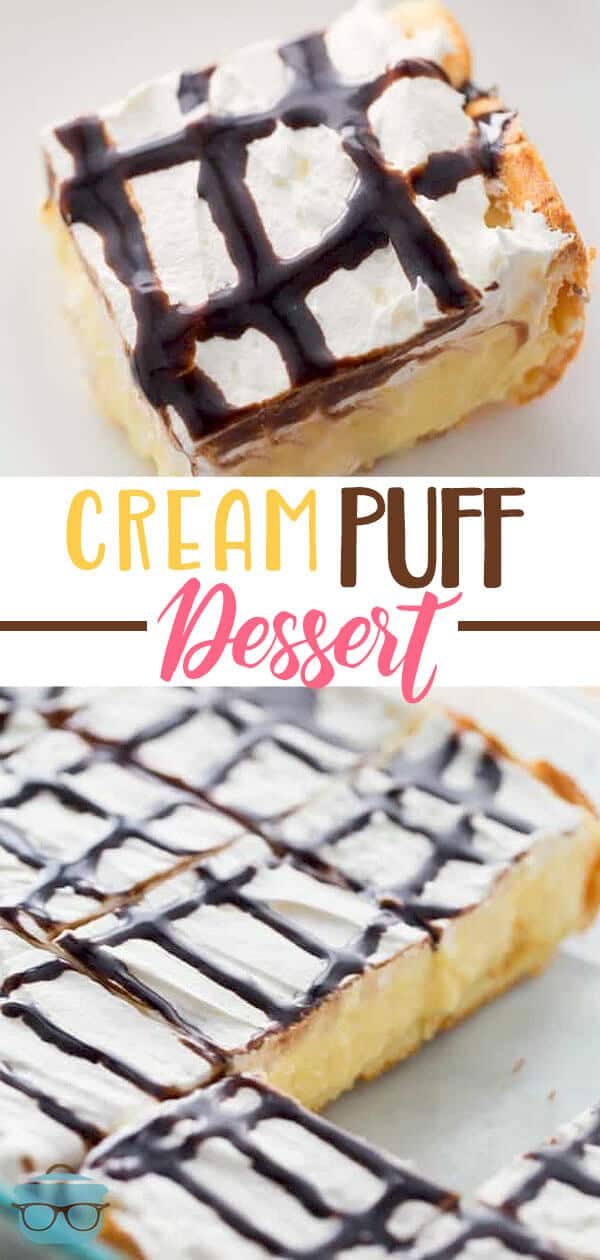 Cream Puff Dessert has a soft, puffy crust topped with a delicious vanilla pudding and all topped with whipped topping and chocolate syrup. #creampuff #dessert