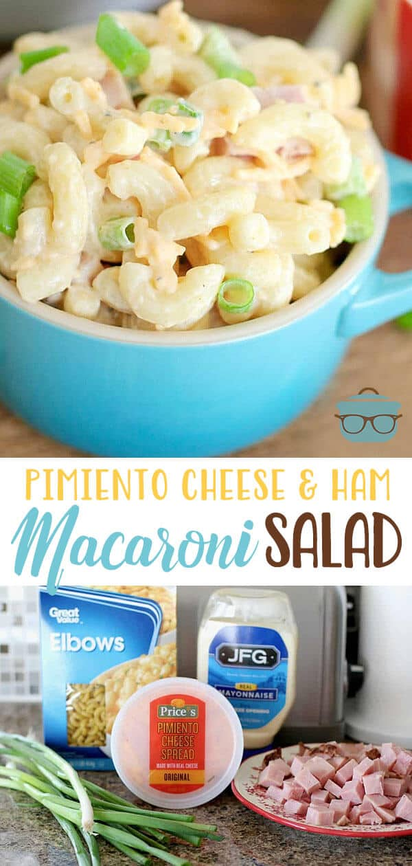 This Pimiento Cheese Macaroni Salad will be the star of the cookout! It has diced ham, store bought pimiento cheese, and macaroni noodles. #macaronisalad #pimientocheese